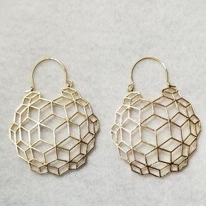 Golden Boho Geometric Basket Dome Earrings